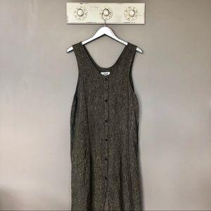 Flax by Jeanne Engelhart   Linen Button Down Dress